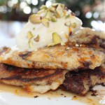 Snowstorms, Snowbound and Carb Loading – Chocolate Chunk – Orange Pancakes with Heavenly Mascarpone Cream and Crushed Pistachios