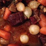 "Dinner Tonight – Ina's Boeuf Bourguignon with Cauliflower ""Mashed Potatoes"" with Roasted Garlic and Parmesan"