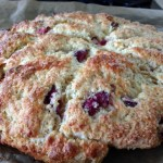 Celebrating California Cherry Season from 2500 miles Away – Fresh Cherry and Marcona Almond Scones (The One-Trick Pony Rides Again)