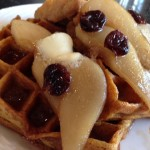 Morning Glory in the Kitchen Instead; Pumpkin-Spiced Waffles with Pear and Cherry Maple Syrup