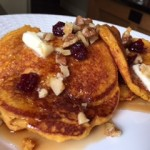 Gluten-Free Pumpkin-Corn Griddle Cakes with Toasted Walnuts and Dried Cranberries