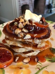 Five Years and A Million Lessons of Kitchen-Inspirational – Gluten-Free Pancakes with Blood Orange Syrup and Hazelnuts and Glazed Bacon