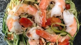 Tinker, Tailor, Soldier, Spy – Even in the Sparsest Kitchen – My Zucchini Pasta with Fresh Tomatoes, Pignoli Nuts and Shrimp