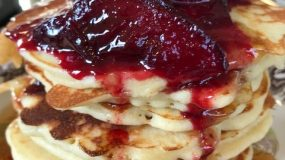 Parade of Red Fruits – Spiced Plum Compote for Gluten-Free Pancakes a la Clinton St. Baking Co